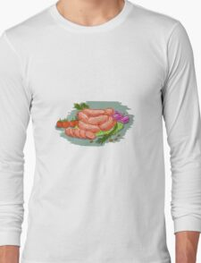 Pork Sausages Vegetables Drawing Long Sleeve T-Shirt