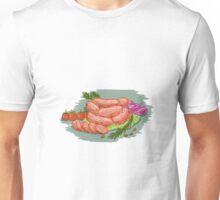 Pork Sausages Vegetables Drawing Unisex T-Shirt