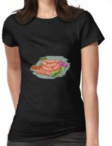 Pork Sausages Vegetables Drawing Womens Fitted T-Shirt