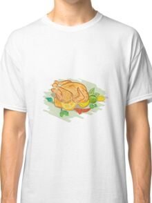 Roast Chicken Vegetables Drawing Classic T-Shirt