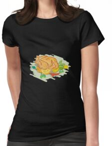 Roast Chicken Vegetables Drawing Womens Fitted T-Shirt