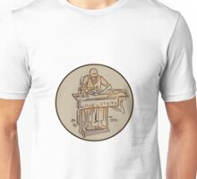 Tailor Upholsterer Sewing Machine Drawing Unisex T-Shirt
