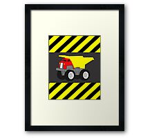 Red and Yellow Dump Truck Caution Tape Framed Print
