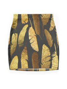 - Golden feathers - Mini Skirt