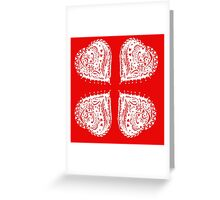 4 Hearts White Aussie Tangle - See Description Notes re Colour Options Greeting Card