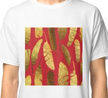 - Golden feather on a red background - Classic T-Shirt