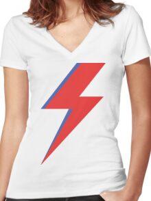 Aladdin Sane - Lightning bolt Women's Fitted V-Neck T-Shirt
