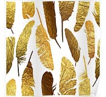 - Golden feathers on a white background - Poster