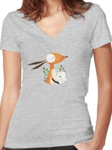 Fox and White Rose Women's Fitted V-Neck T-Shirt