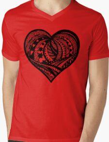 Valentine Heart 5  Aussie Tangle - see Description Notes re background colours Mens V-Neck T-Shirt