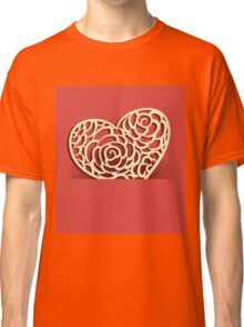 Heart from paper Valentines day card vector background Classic T-Shirt