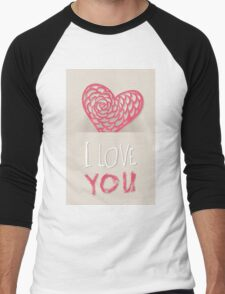 Valentines day card vector background Men's Baseball ¾ T-Shirt