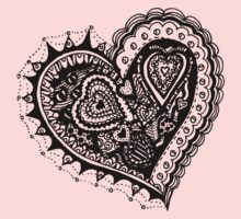 Valentine Heart 2 Angled Aussie Tangle by Heather Holland One Piece - Short Sleeve