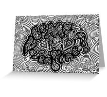 Be My Valentine Aussie Tangle Black & White  Greeting Card