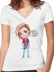 Justin Bieber - What Do You Mean (chibi) Women's Fitted V-Neck T-Shirt