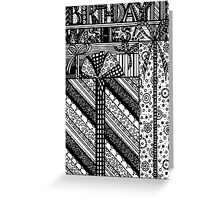 Birthday Wishes Aussie Tangle Black & White by Heather Holland Greeting Card