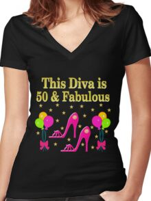 THIS SHOE QUEEN IS 50 AND FABULOUS Women's Fitted V-Neck T-Shirt