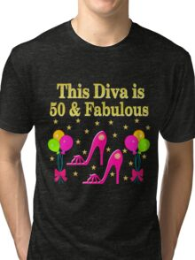 THIS SHOE QUEEN IS 50 AND FABULOUS Tri-blend T-Shirt