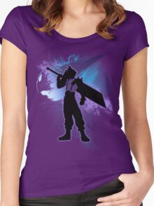 Super Smash Bros. Cloud Silhouette Women's Fitted Scoop T-Shirt