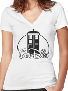 Tardis Dr Who Women's Fitted V-Neck T-Shirt