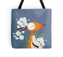 Fox and White Rose Tote Bag