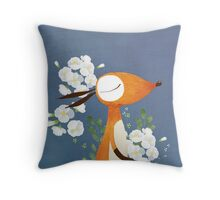Fox and White Rose Throw Pillow