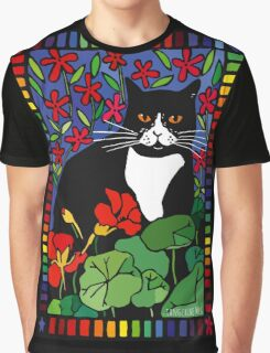 Black and White Cat in the Garden Graphic T-Shirt