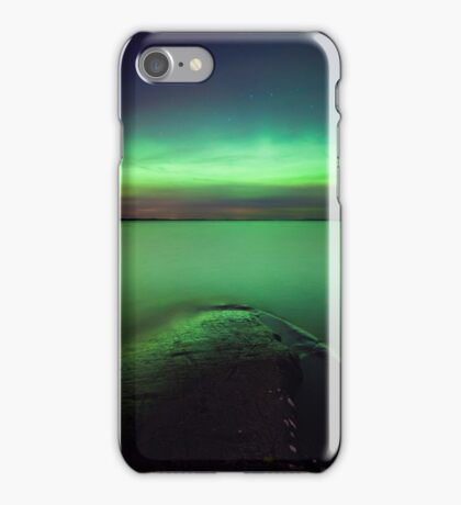 Northern lights glow over lake iPhone Case/Skin