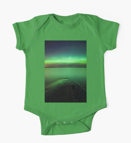 Northern lights glow over lake One Piece - Short Sleeve