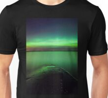 Northern lights glow over lake Unisex T-Shirt
