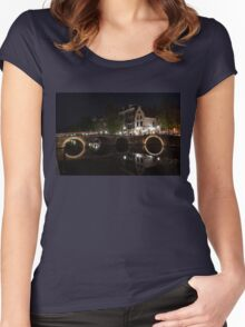 Light Trails and Circles - Reflecting on Magical Amsterdam Canals Women's Fitted Scoop T-Shirt