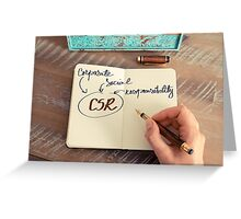Motivational concept with handwritten text CSR as CORPORATE SOCIAL RESPONSIBILITY Greeting Card