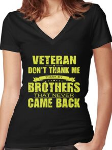 Thank My Fallen Brothers Veterans Women's Fitted V-Neck T-Shirt