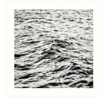 black and white waves Art Print