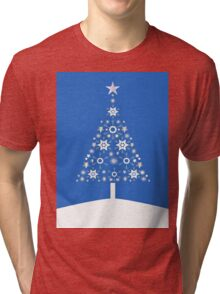 Christmas Tree Made Of Snowflakes On Blue Background Tri-blend T-Shirt