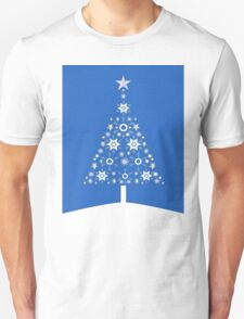 Christmas Tree Made Of Snowflakes On Blue Background T-Shirt