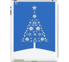 Christmas Tree Made Of Snowflakes On Blue Background iPad Case/Skin