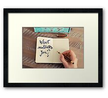 Motivational concept with handwritten text WHAT MOTIVATES YOU Framed Print