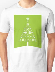 Christmas Tree Made Of Snowflakes On Lime Background T-Shirt