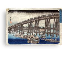 Cooling Off At Ryogoku Bridge - Hiroshige Ando - 1833 - woodcut Canvas Print