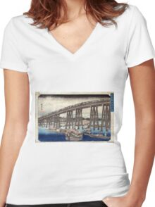 Cooling Off At Ryogoku Bridge - Hiroshige Ando - 1833 - woodcut Women's Fitted V-Neck T-Shirt