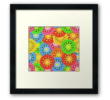 Painted Abstract Flower Seamless Pattern Framed Print