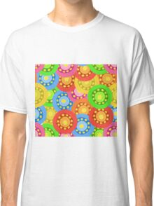 Painted Abstract Flower Seamless Pattern Classic T-Shirt