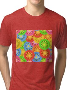 Painted Abstract Flower Seamless Pattern Tri-blend T-Shirt