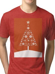 Christmas Tree Made Of Snowflakes On Orange Background Tri-blend T-Shirt