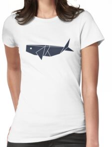 Origami Whale Womens Fitted T-Shirt