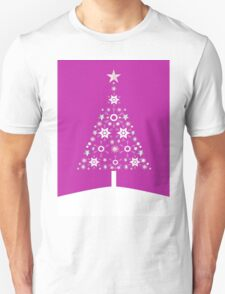 Christmas Tree Made Of Snowflakes On Pink Background T-Shirt