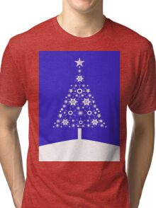 Christmas Tree Made Of Snowflakes On Purple Background Tri-blend T-Shirt