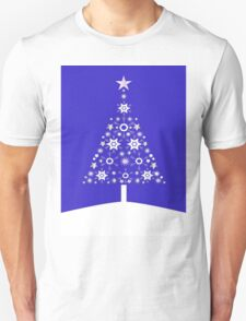 Christmas Tree Made Of Snowflakes On Purple Background T-Shirt