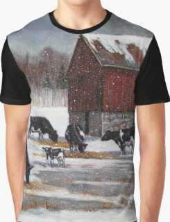 Cows in Snowy Barnyard No. 2, Oil Pastel Painting Graphic T-Shirt